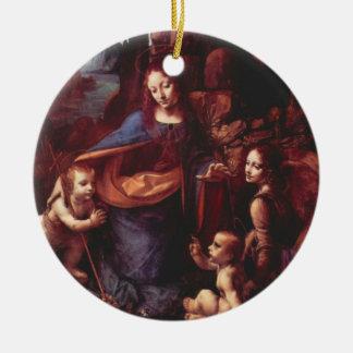 Ornement Rond En Céramique Vierge des roches par Leonardo da Vinci