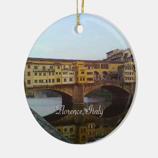 Ornement Rond En Céramique Vieux cadeau de Florence Italie de pont de Ponte