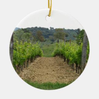 Ornement Rond En Céramique Vignoble au printemps. La Toscane, Italie
