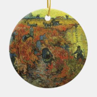 Ornement Rond En Céramique Vignoble rouge par art vintage d'impressionisme de