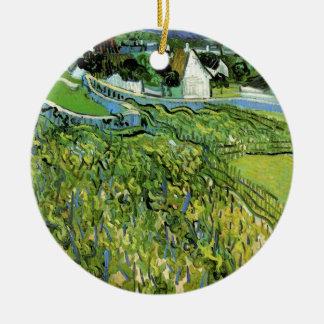 Ornement Rond En Céramique Vignobles de Van Gogh avec Auvers, beaux-arts