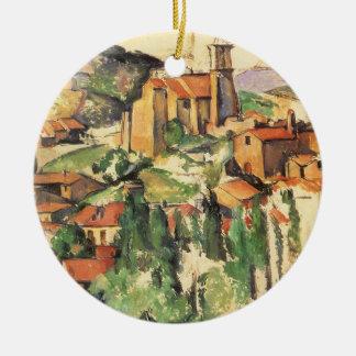 Ornement Rond En Céramique Village de Gardanne par Paul Cezanne, art vintage