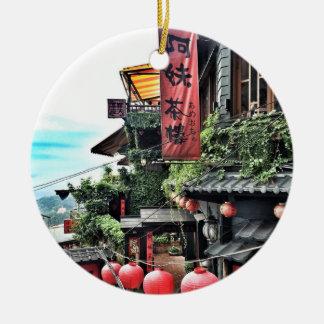 Ornement Rond En Céramique Village de montagne et salon de thé chinois