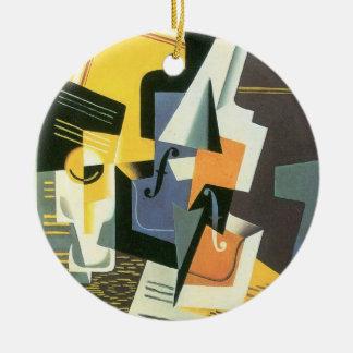 Ornement Rond En Céramique Violon et verre par Juan Gris, cubisme vintage