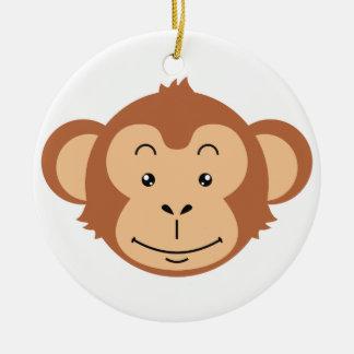 Ornement Rond En Céramique Visage de singe