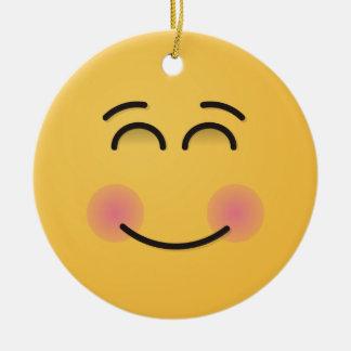 Ornement Rond En Céramique Visage de sourire avec les yeux de sourire