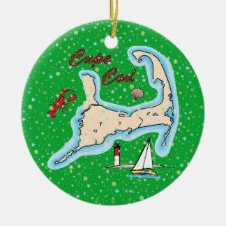 Ornement Rond En Céramique Voilier de homard de carte de Cape Cod de vacances