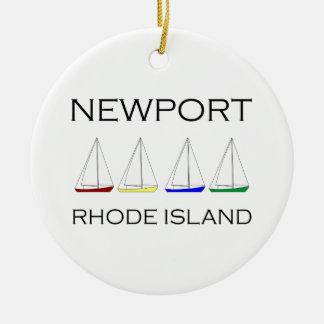 Ornement Rond En Céramique Voiliers de Newport Île de Rhode