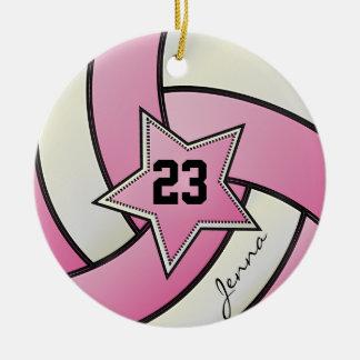 Ornement Rond En Céramique Volleyball d'étoile de rose et de blanc
