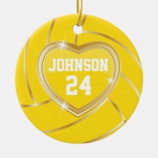 Ornement Rond En Céramique Volleyball élégant de jaune et d'or