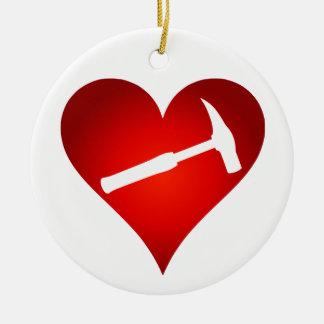Ornement Rond En Céramique Vous basculez mon monde : Coeur de marteau de