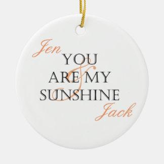 Ornement Rond En Céramique Vous êtes mon soleil - customisé avec des noms
