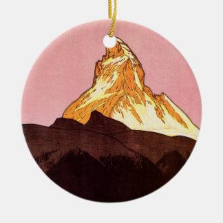 Ornement Rond En Céramique Voyage vintage, montagne de Matterhorn, Suisse
