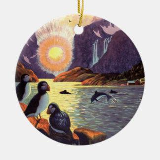 Ornement Rond En Céramique Voyage vintage, terre de fjord de la Norvège de