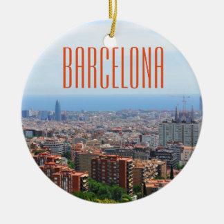 Ornement Rond En Céramique Vue aérienne de Barcelone, Espagne