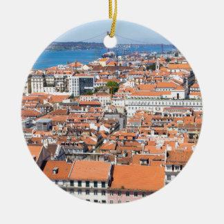 Ornement Rond En Céramique Vue aérienne de Lisbonne, Portugal