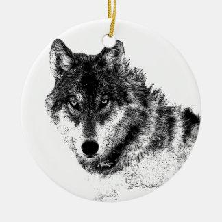 Ornement Rond En Céramique Yeux inspirés blancs noirs de loup