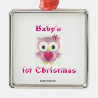 Ornement rose d'arbre de hibou de ęr Noël du bébé