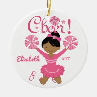 Ornement rose de pom-pom girl d'Afro-américain