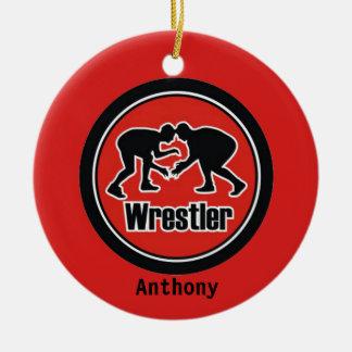 Ornement rouge et noir de Noël de lutteur