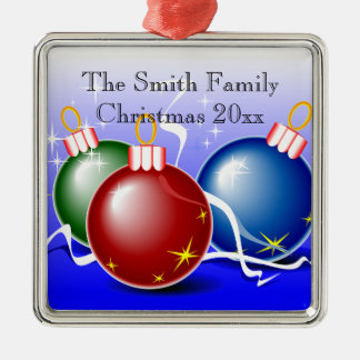 Ornement rouge personnalisé de Noël de vert bleu