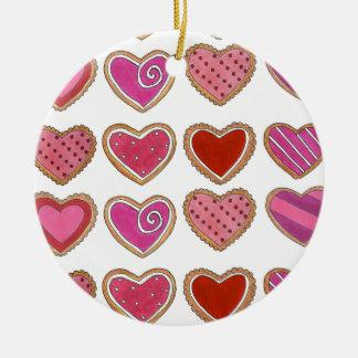 Ornement rouge-rose de biscuit de coeur de