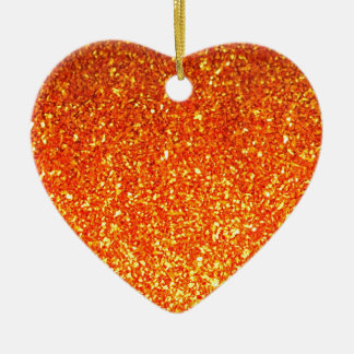 Orange sparkly glitter heart ornament