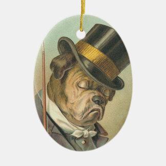 Ornement somnolent de Noël de chien de Taureau