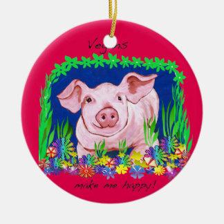 Ornement végétalien de Noël de porc