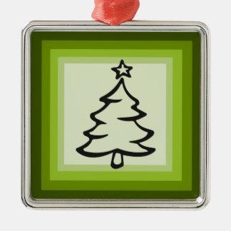 Ornement vert de carré d'arbre de Noël