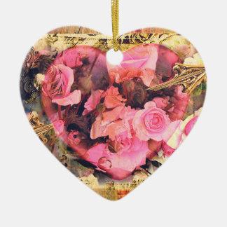 Ornement vintage de coeur de Valentine de roses de