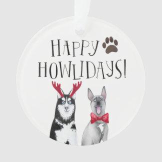 Ornements heureux de Noël de chien de Howlidays