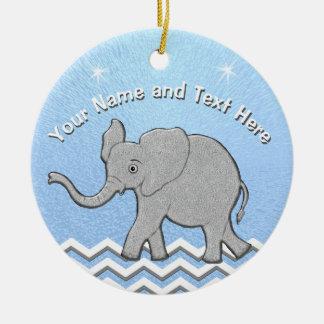 Ornements personnalisés de Noël d'éléphant de bébé