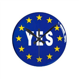 Oui à l'UE - séjour dans l'Union européenne Horloge Ronde
