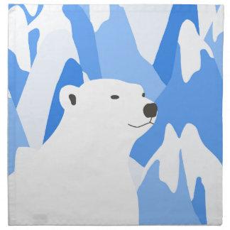 Ours blanc dans la conception froide serviettes en tissus