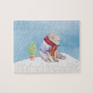 Ours blanc et arbre de Noël dans la neige Puzzle