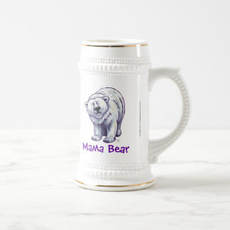 Ours blanc mignon pour la maman chope à bière