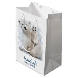 Ours blanc sac cadeau moyen
