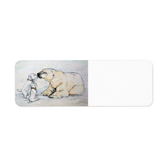 Ours blanc Westies Étiquette D'adresse Retour