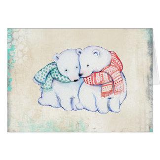 Ours blancs dans la carte de Noël d'écharpes