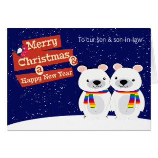 Ours blancs de Noël orienté gai personnalisés Carte De Vœux