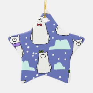 ours blancs ornement étoile en céramique