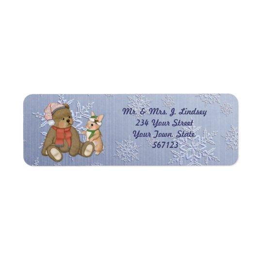 Ours de flocon de neige et étiquette de adresse de