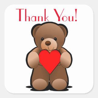 Ours de nounours et étiquette de Merci de coeur