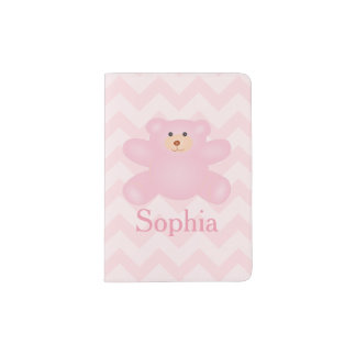 Ours de nounours Girly mignon de rose en pastel Protège-passeport