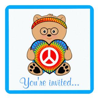 Ours de nounours hippie avec l'anniversaire de carton d'invitation  13,33 cm