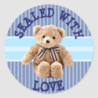 Ours de nounours scellé avec l'autocollant d'amour sticker rond