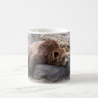 Ours gris se reposant sur la roche mug