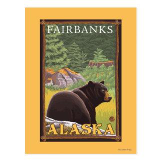 Ours noir dans la forêt - Fairbanks, Alaska Carte Postale