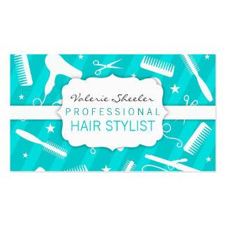 Outils bleus et blancs turquoises de salon de coif carte de visite